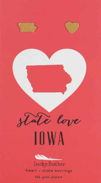State LOVE Earrings - Gold - IOWA - 4PK