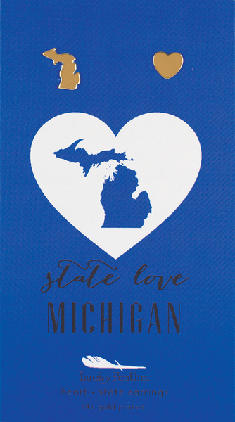 State LOVE Earrings - Gold - MICHIGAN - 4PK