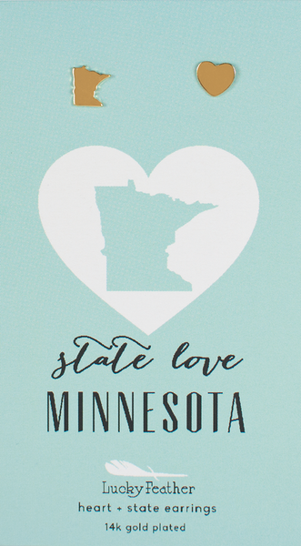 State LOVE Earrings - Gold - MINNESOTA - 4PK