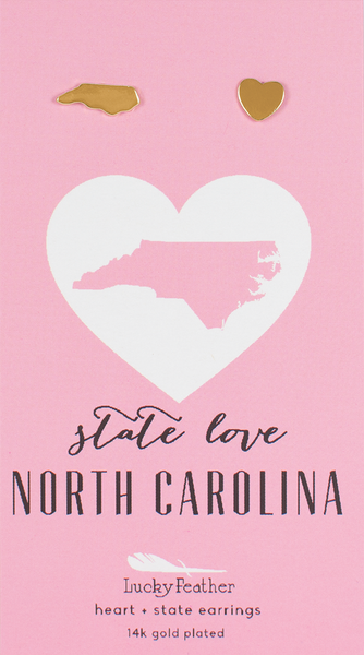 State LOVE Earrings - Gold - NORTH CAROLINA - 4PK