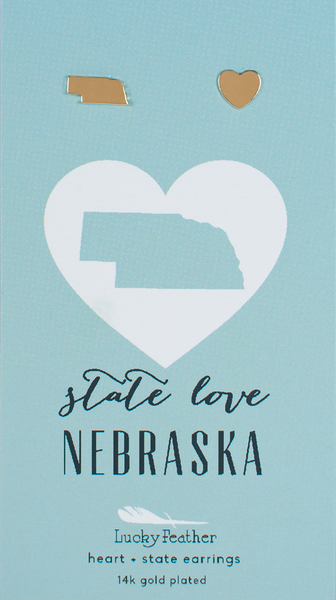 State LOVE Earrings - Gold - NEBRASKA - 4PK