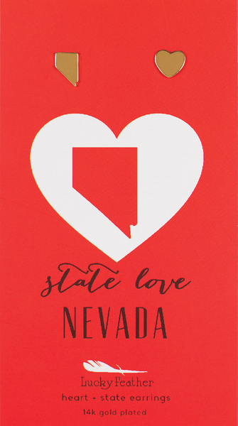 State LOVE Earrings - Gold - NEVADA - 4PK