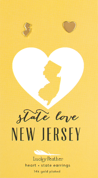 State LOVE Earrings - Gold - NEW JERSEY - 4PK