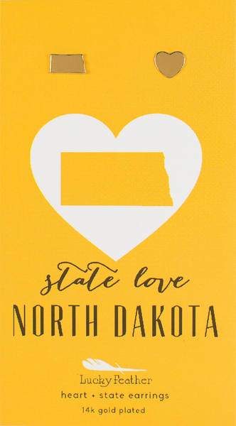 State LOVE Earrings - Gold - NORTH DAKOTA - 4PK