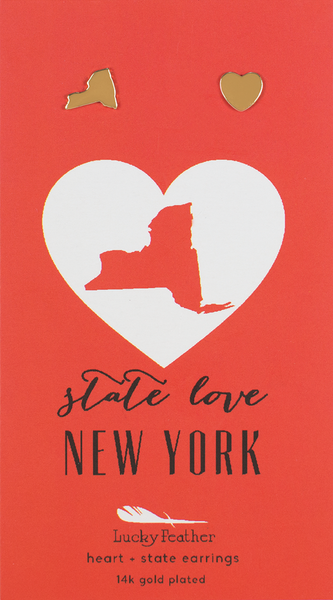 State LOVE Earrings - Gold - NEW YORK - 4PK