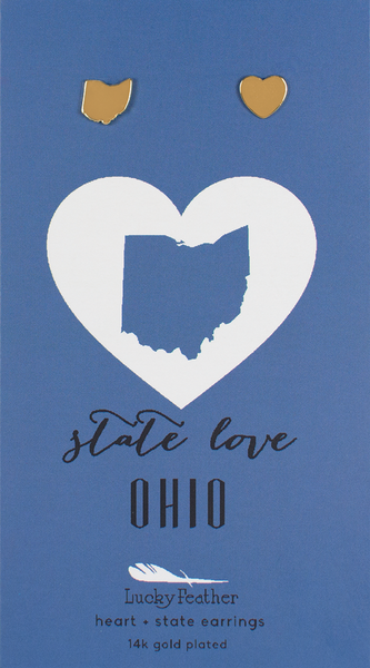 State LOVE Earrings - Gold - OHIO - 4PK