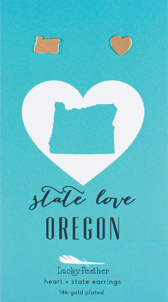State LOVE Earrings - Gold - OREGON - 4PK