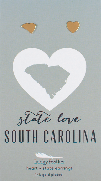 State LOVE Earrings - Gold - SOUTH CAROLINA - 4PK