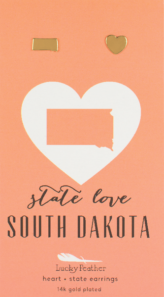 State LOVE Earrings - Gold - SOUTH DAKOTA - 4PK