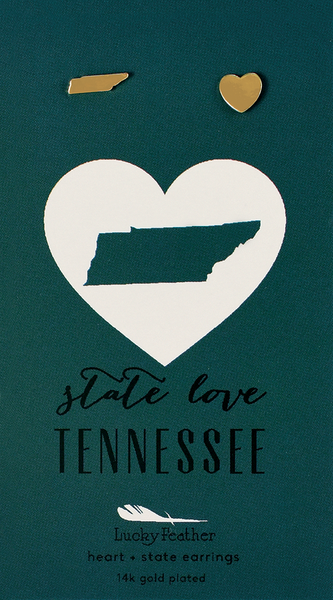 State LOVE Earrings - Gold - TENNESSEE - 4PK