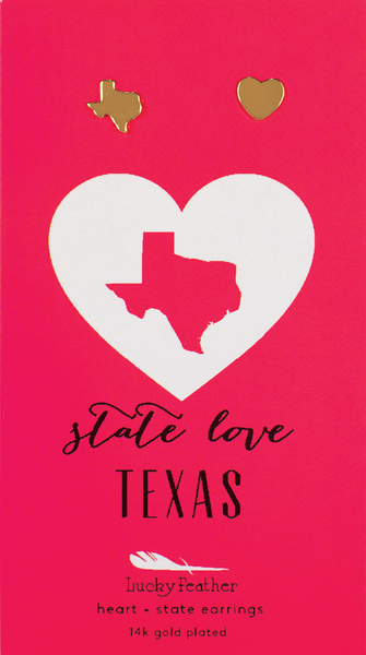 State LOVE Earrings - Gold - TEXAS - 4PK