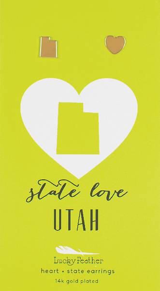 State LOVE Earrings - Gold - UTAH - 4PK