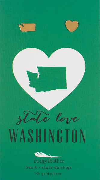 State LOVE Earrings - Gold - WASHINGTON - 4PK