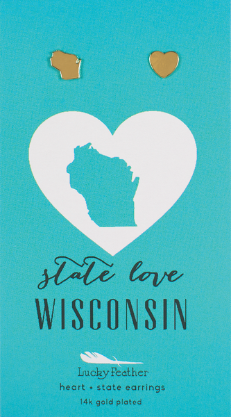 State LOVE Earrings - Gold - WISCONSIN - 4PK