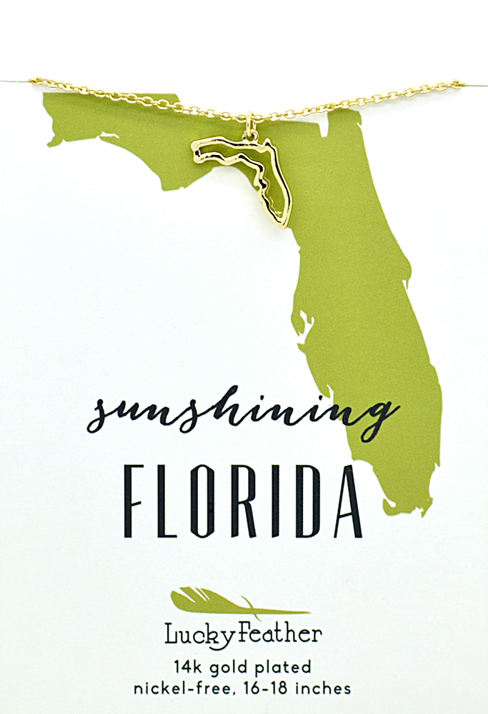 State Necklace - Gold - FLORIDA - 4 pk