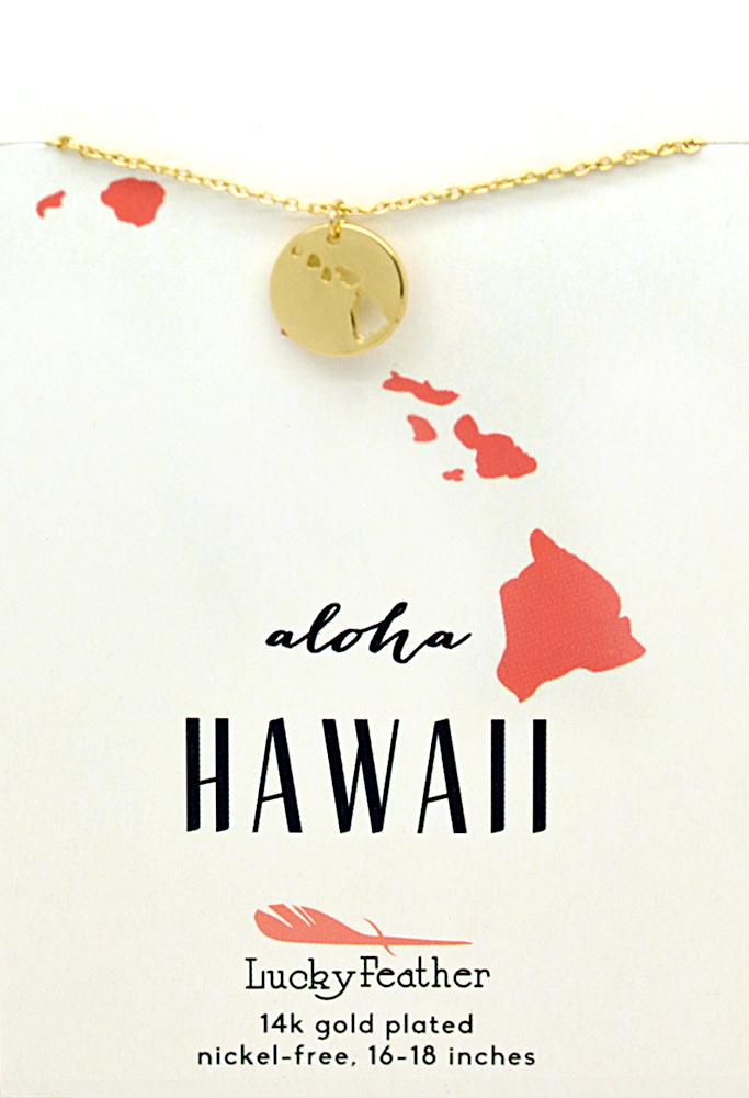State Necklace - Gold - HAWAII - 4 pk