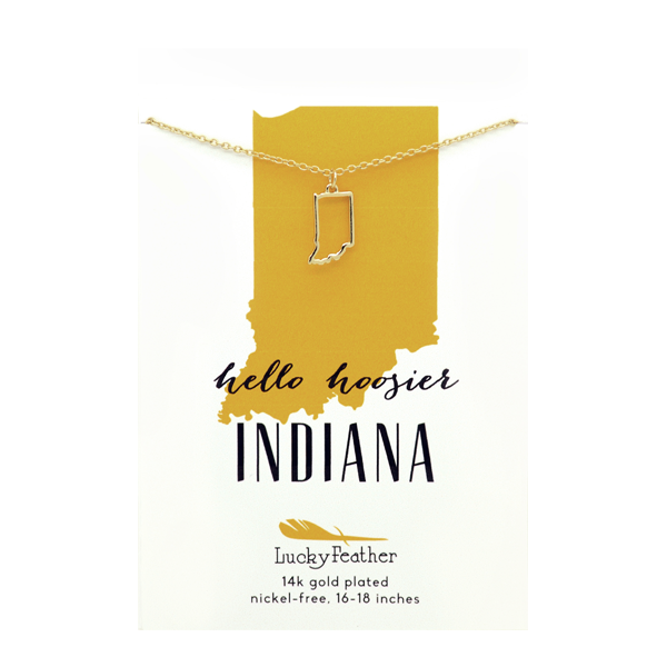 State Necklace- Gold - Indiana - 4PK