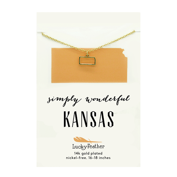 State Necklace- Gold - Kansas - 4PK
