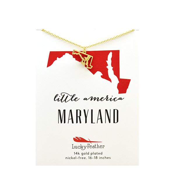 State Necklace - Gold - MARYLAND - 4 pk