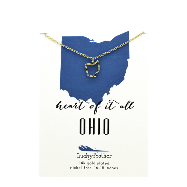 State Necklace- Gold - Ohio - 4PK