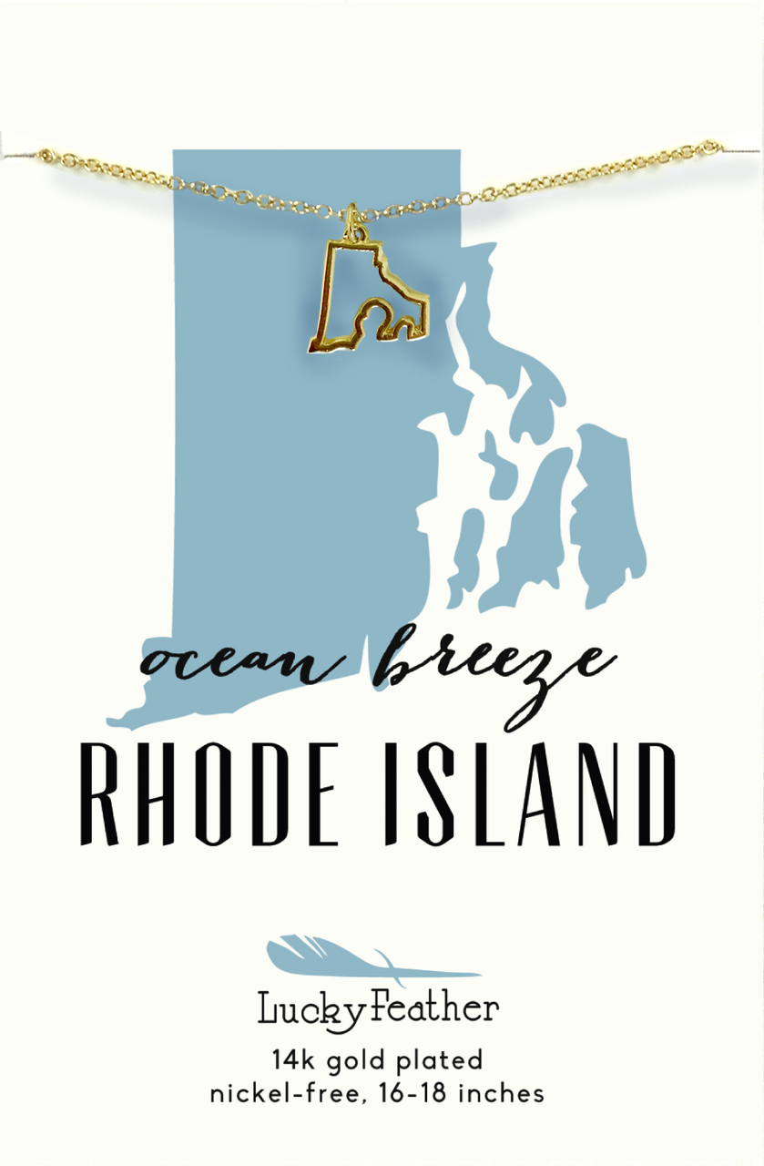 State Necklace - Gold - RHODE ISLAND - 4 pk