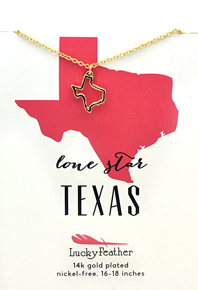 State Necklace - Gold - TEXAS - 4 pk