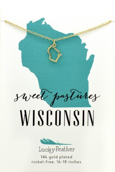 State Necklace- Gold - Wisconsin - 4PK