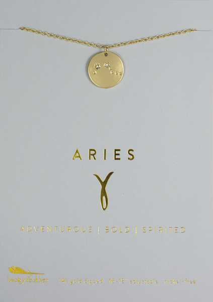 Zodiac Necklace - Gold - ARIES