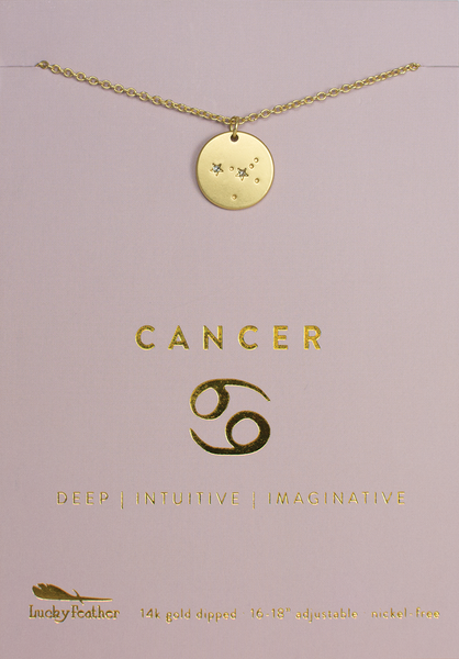 Zodiac Necklace - Gold - CANCER