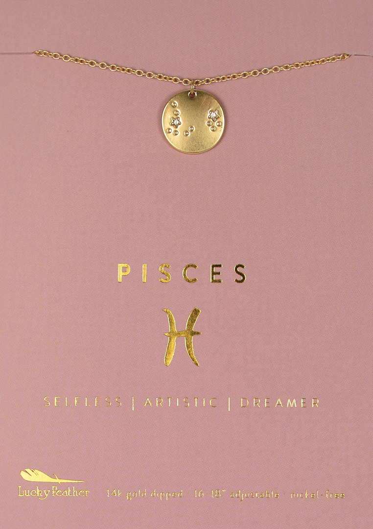 Zodiac Necklace - Gold - PISCES - 4pk