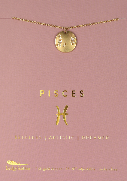 Zodiac Necklace - Gold - PISCES