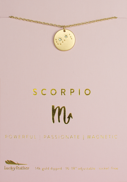 Zodiac Necklace - Gold - SCORPIO