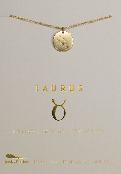 Zodiac Necklace - Gold - TAURUS