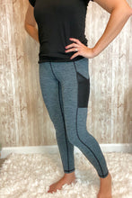 Load image into Gallery viewer, Heather Blue/Black Pocket Legging