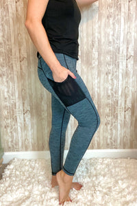 Heather Blue/Black Pocket Legging