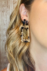 Rectangle Drop Tortoise Acetate Earrings