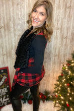 Load image into Gallery viewer, Buffalo Plaid & Sherpa Draped Vest