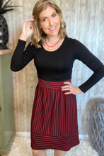 Load image into Gallery viewer, Burgundy/Black Striped Dress