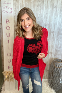 Clustered Heart Short Sleeve Sweater