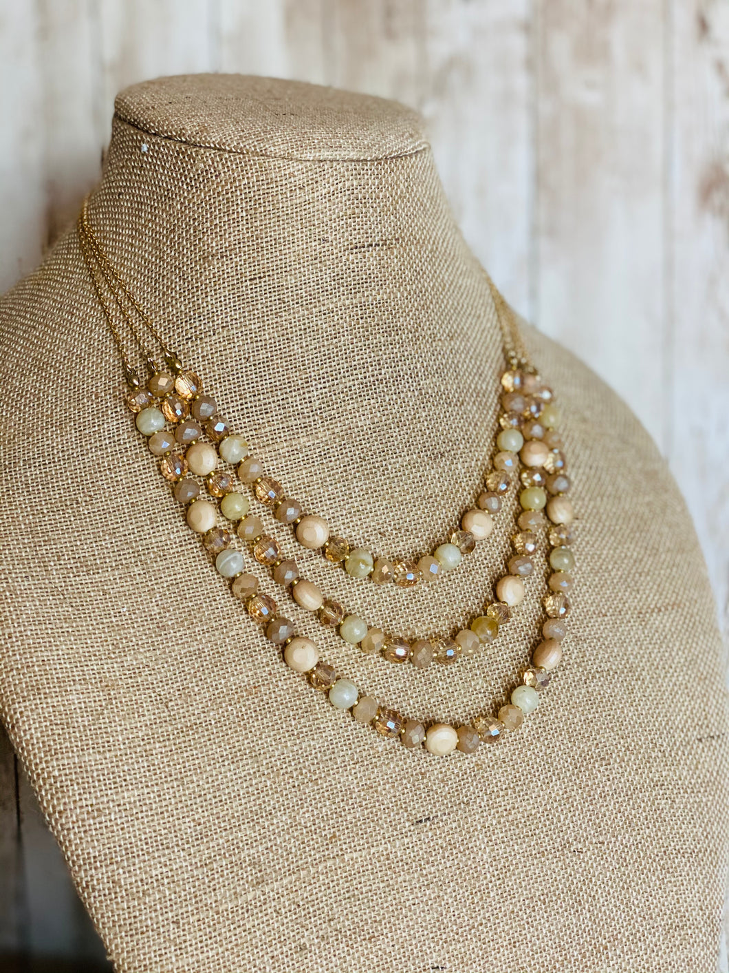 3-Tier Glass & Stone Bead Necklace