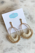 Load image into Gallery viewer, Ivory & Gold Macramé Earrings