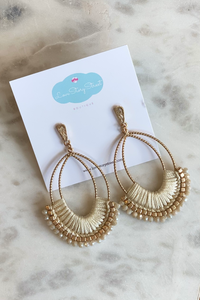 Ivory & Gold Macramé Earrings