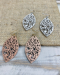 Laser Cut Leather Drop Earrings