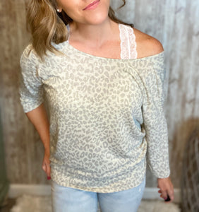 Gathered Back Gray Leopard Top