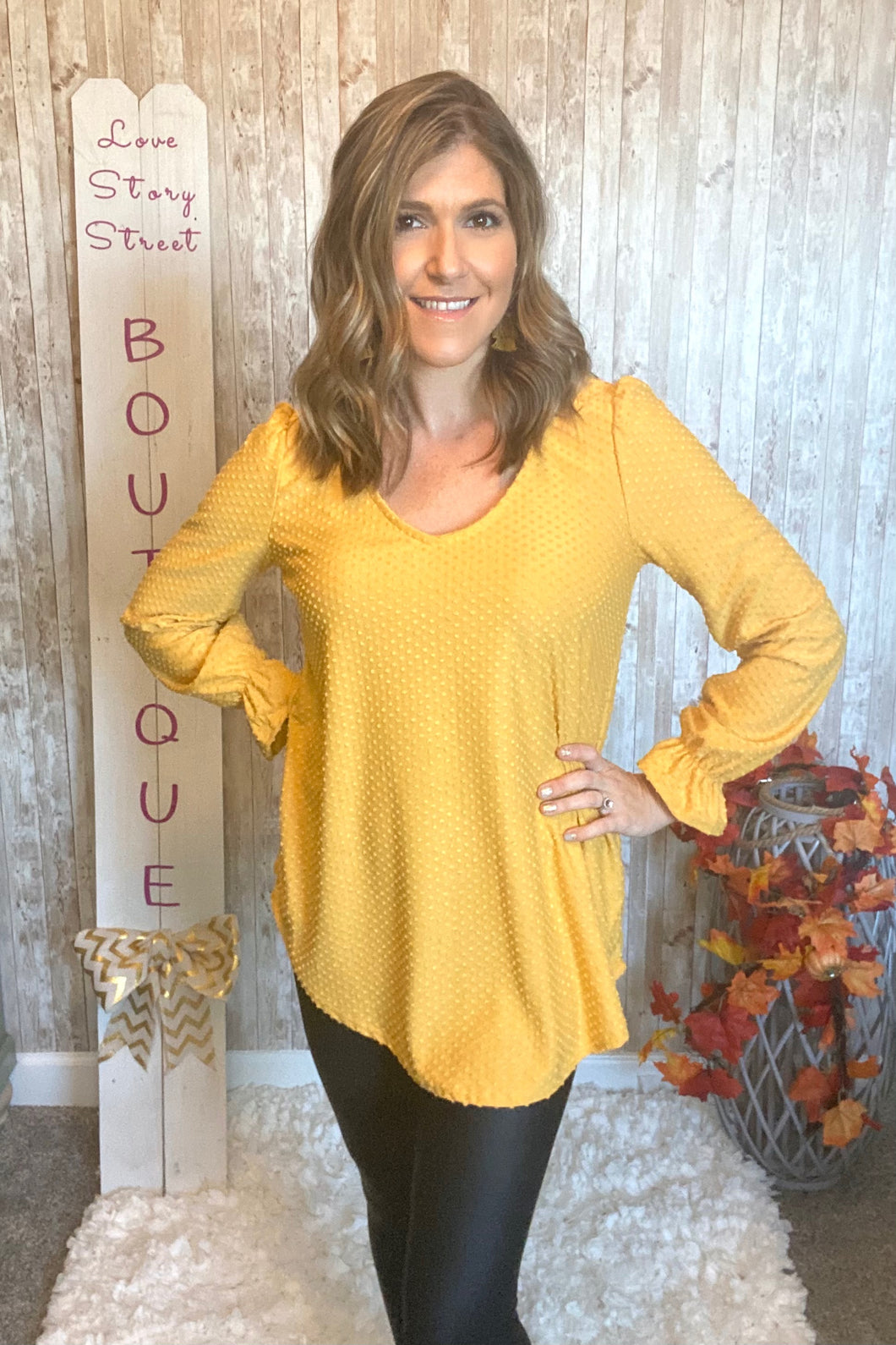 Mustard Swiss Dot Top