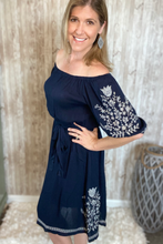 Load image into Gallery viewer, Navy Embroidered Peasant Dress