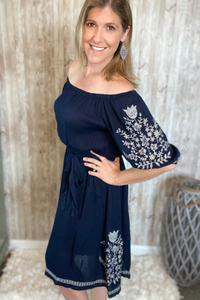 Navy Embroidered Peasant Dress