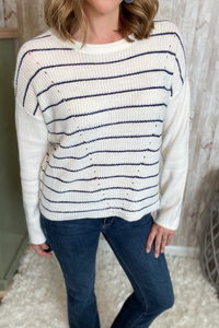 Navy Striped Knit Pullover Sweater