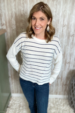 Load image into Gallery viewer, Navy Striped Knit Pullover Sweater