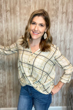 Load image into Gallery viewer, Twist Front Plaid Woven Top